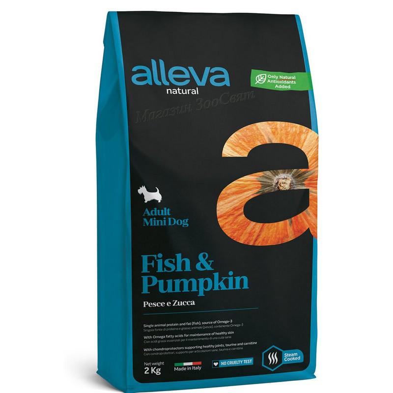 Alleva Natural Fish And Pumpkin Adult Mini .  Алева Натурал с Риба & Тиква за израснали кучета малки породи.